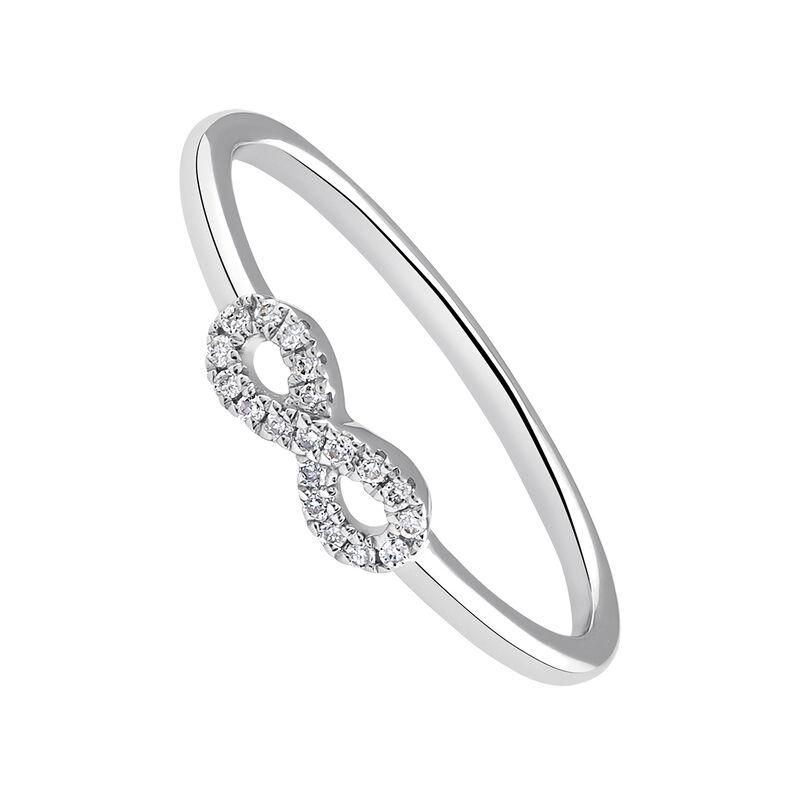 Anillo infinito diamantes 0,05 ctoro blanco, J03019-01, hi-res