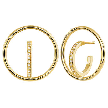 Gold circle hoop topaz earrings, J04029-02-WT, hi-res