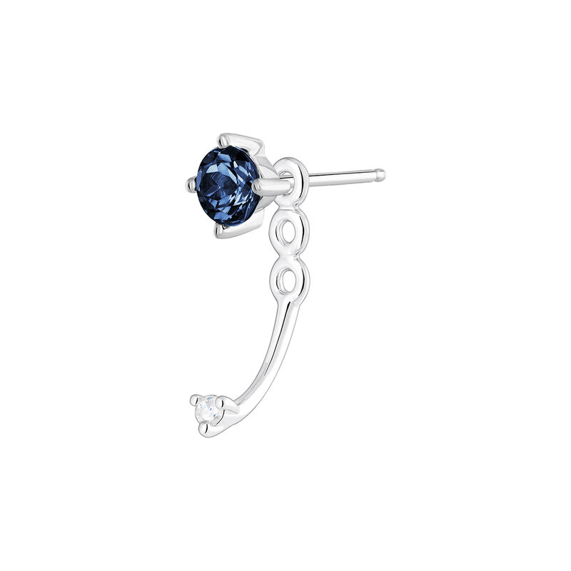 Boucle d'oreille ear jacket saphir et diamant or blanc, J04079-01-BS-H, hi-res