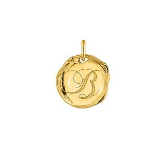 Colgante medalla inicial B plata recubierta oro, J04641-02-B, hi-res
