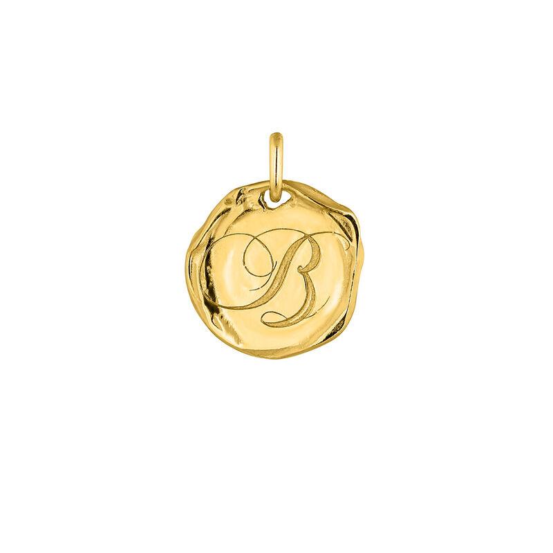 Gold plated Initial B medal pendant, J04641-02-B, hi-res