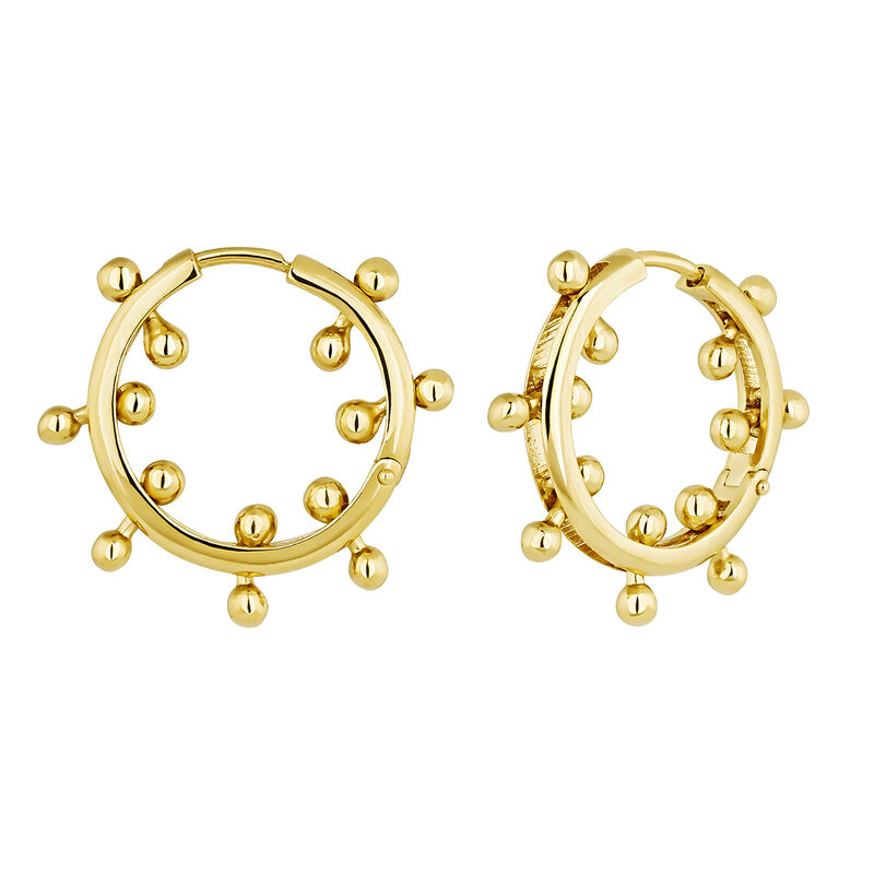 Gold plated silver piercing balls hoop earrings, J04320-02, hi-res