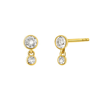 Gold topaz earrings, J03670-02-WT, hi-res