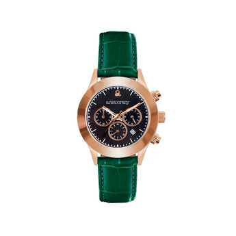 Reloj Soho verde esfera negra, W0029Q-STBL-LEGR, hi-res