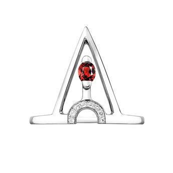 Silver geometric stone ring, J03952-01-WT-GAR, hi-res