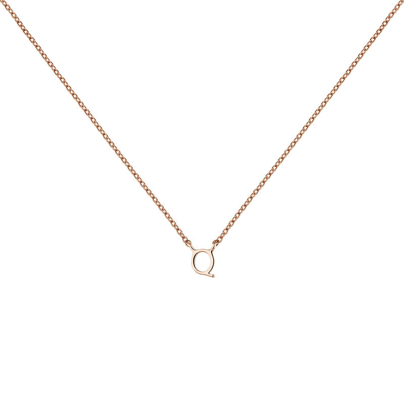 Rose gold Initial Q necklace, J04382-03-Q, hi-res