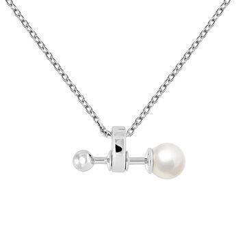 Silver pearl pendant, J04025-01-WP, hi-res