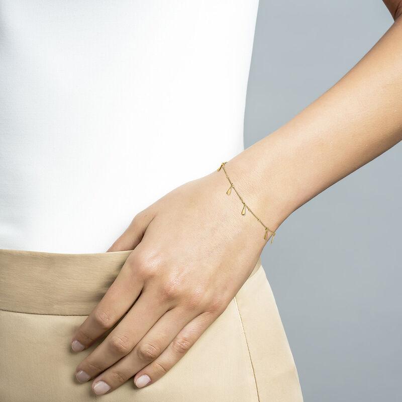 Gold plated silver drop motifs bracelet, J04595-02, hi-res
