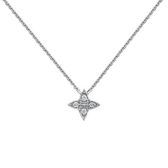 Collier croix gouttes diamant or blanc, J03925-01, hi-res