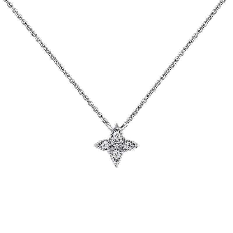 Collier croix gouttes diamant or blanc 0,024 ct, J03925-01, hi-res