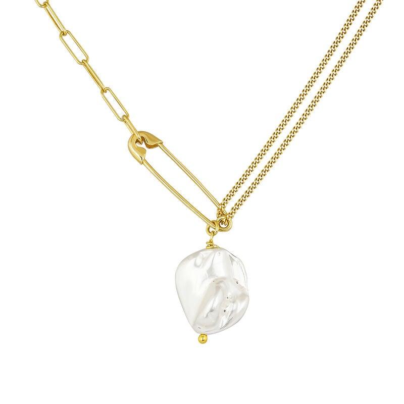 Collar imperdible perla plata recubierta oro, J04574-02-WP, hi-res