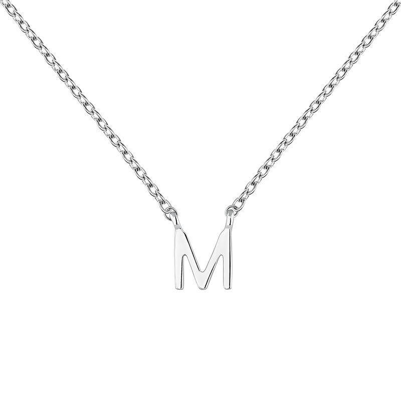 Collier iniciale M or blanc, J04382-01-M, hi-res