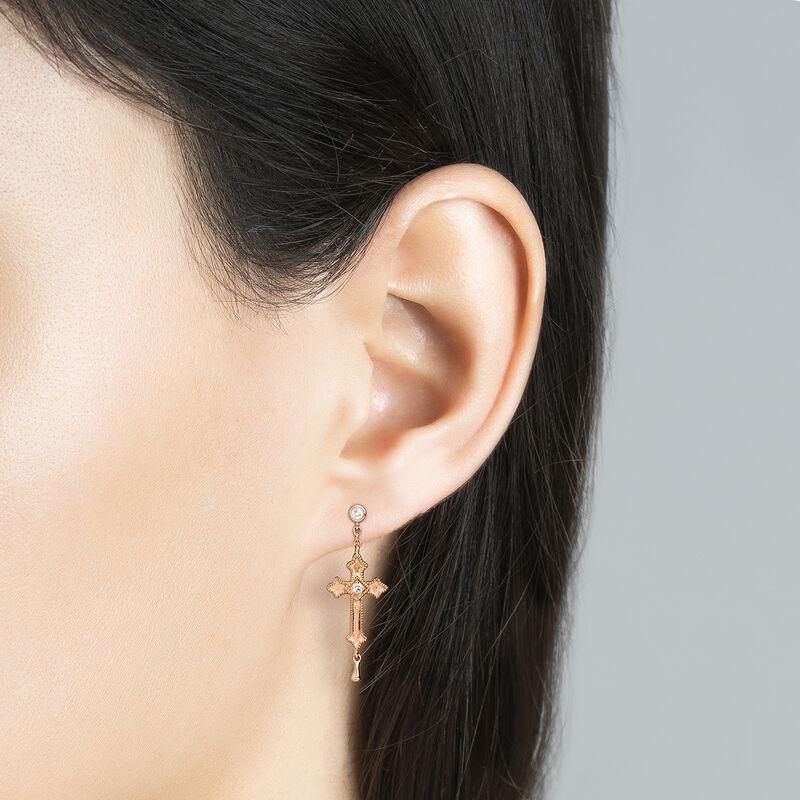 Boucles d'oreilles pendentif moyenne croix argent  plaqué or rose avec topaze, J04228-03-WT, hi-res