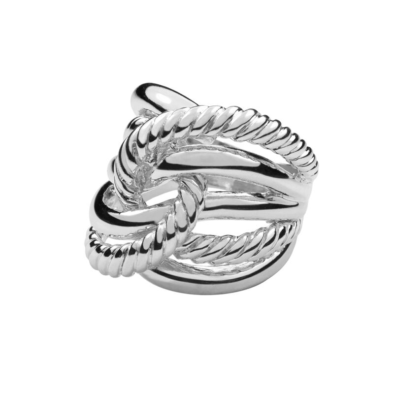 Silver smooth and cabled knot ring, J00609-01, hi-res
