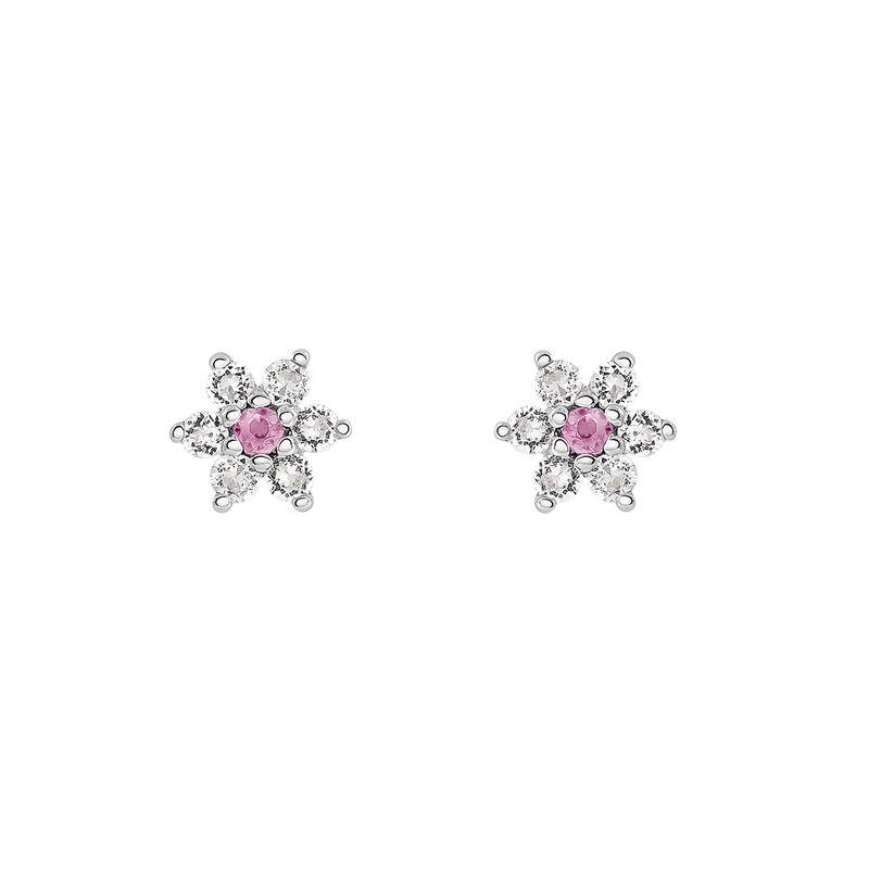 Pendientes flor zafiro rosa plata, J03331-01-PS-WT, hi-res