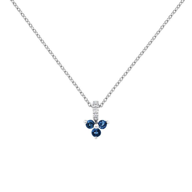 Collier trèfle saphir et diamant or blanc, J04080-01-BS, hi-res