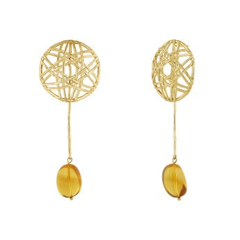 Gold plated amber pendant wicker earrings, J04418-02-AMB, hi-res