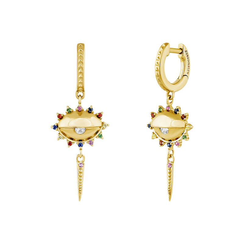 Gold plated silver small eye white topaz earrings, J04405-02-WT-MULTI, hi-res