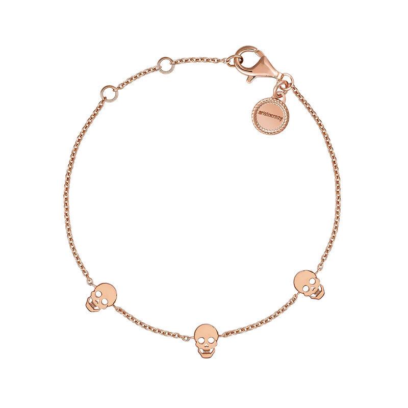 Pulsera calaveras plata recubierta oro rosa, J03942-03, hi-res