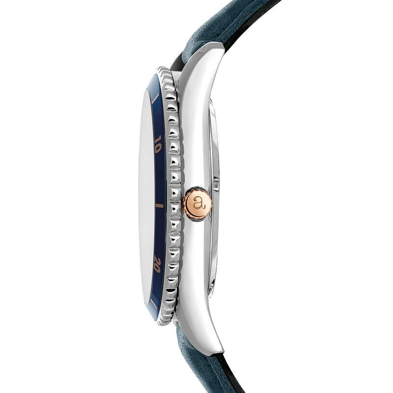 Montre Shibuya bracelet en cuir cadran bleu, W43A-STBUBU-LEBU, hi-res