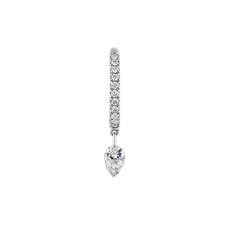 Pendiente aro motivo diamante 0,14 ctoro blanco