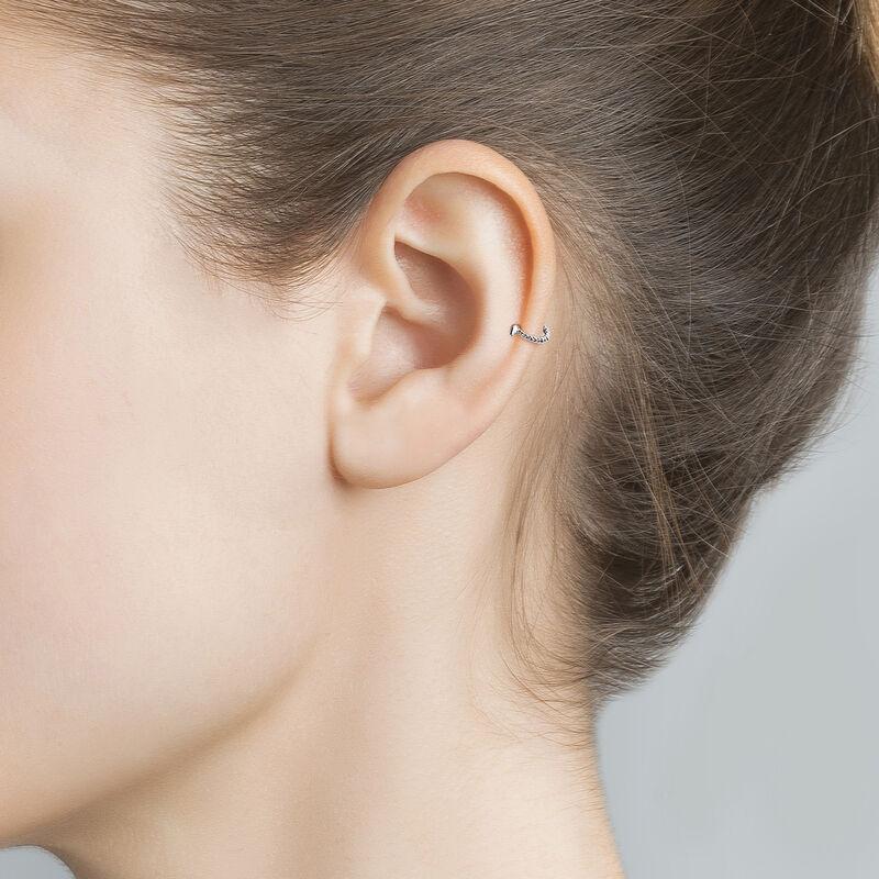 White gold hoop earring piercing with spheres, J03847-01-H, hi-res