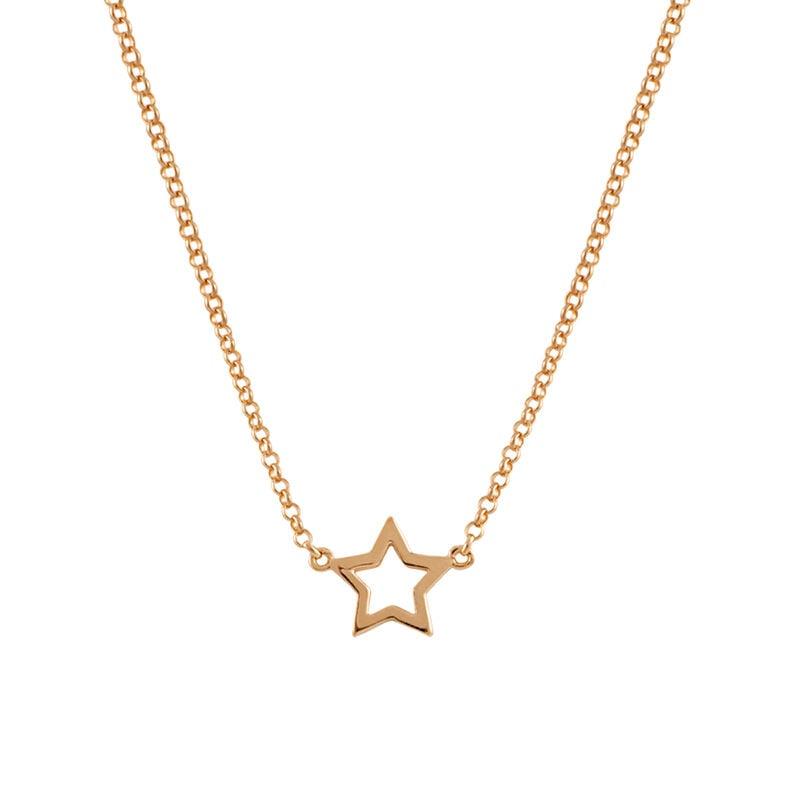 Collier étoile creuse argent plaqué or rose, J00659-03, hi-res
