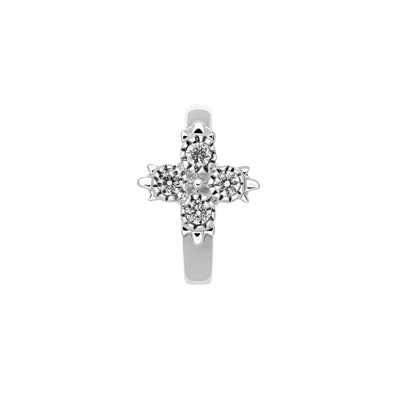 Pendiente piercing aro diamantes oro blanco 0,033 ct, J03386-01-H, hi-res