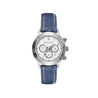Soho watch blue strap white face., W29A-STSTWH-LEBU, hi-res