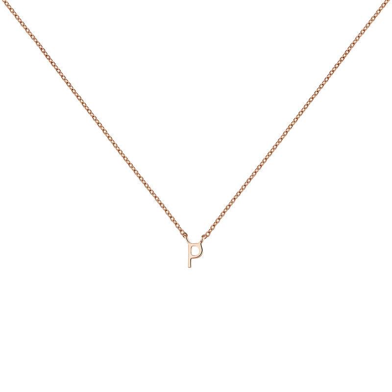 Rose gold Initial P necklace, J04382-03-P, hi-res