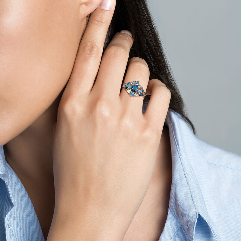 Medium rose gold plated ring with topaz, J03417-03-LBSBSK, hi-res