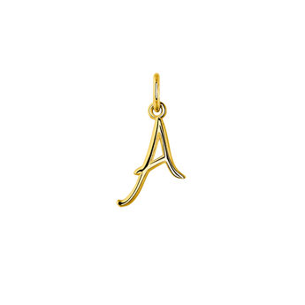 Gold plated initial A necklace, J03932-02-A, hi-res