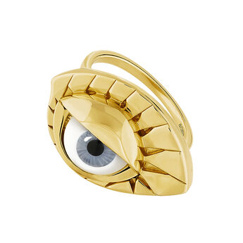 Gold plated silver blue eye ring, J04399-02-BE, hi-res
