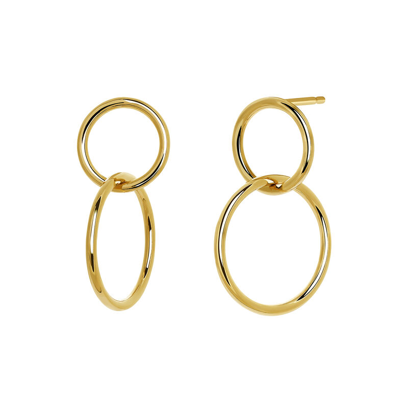 Gold small hoop earrings, J03587-02, hi-res