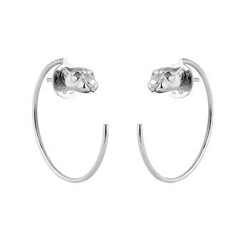 Silver panther hoop earrings, J04195-01, hi-res
