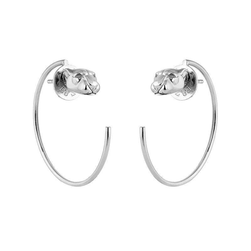 Boucles d'oreilles créoles panthre argent, J04195-01, hi-res