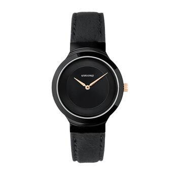 Montre Vesterbro noire, W48A-BLBLBL-LEBL, hi-res