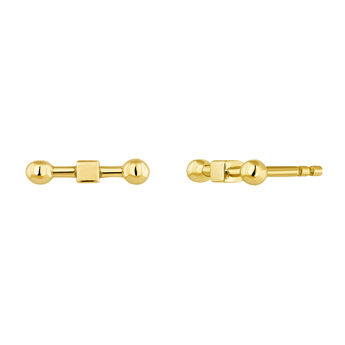Gold plated silver piercing bar earrings, J04331-02, hi-res