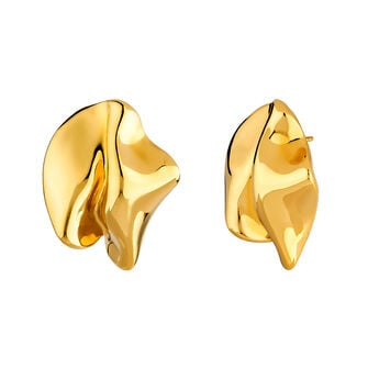 Large gold plated petal earrings, J04385-02, hi-res