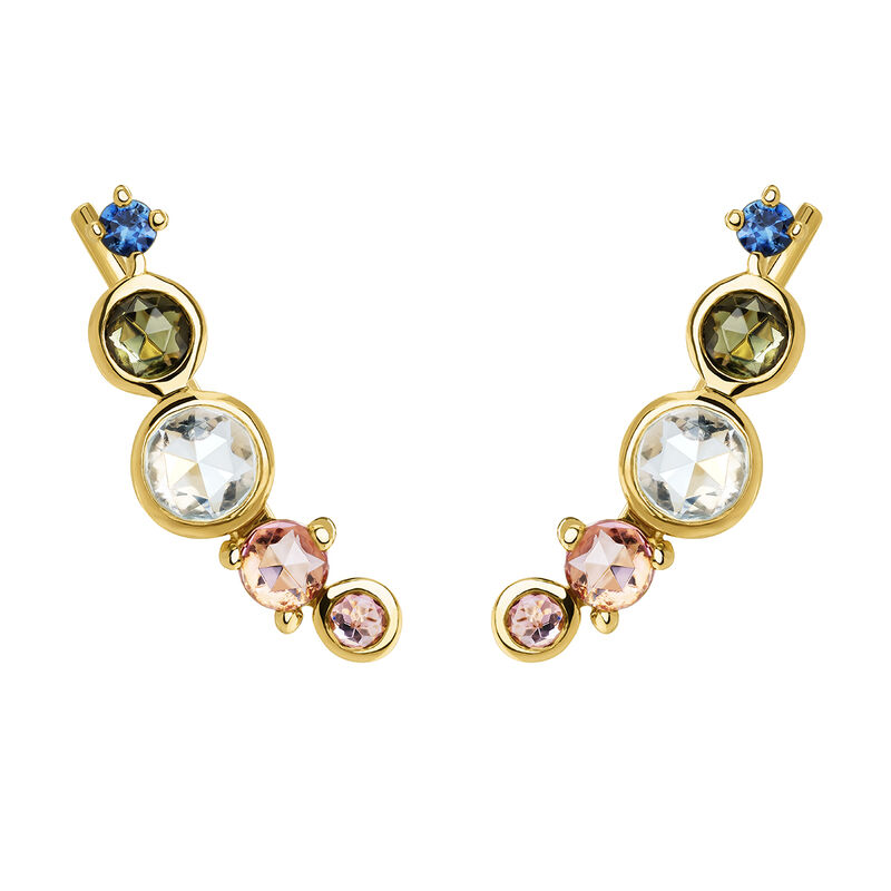 Gold plated climber earrings with tourmaline, J04146-02-BSGTSKYPT, hi-res