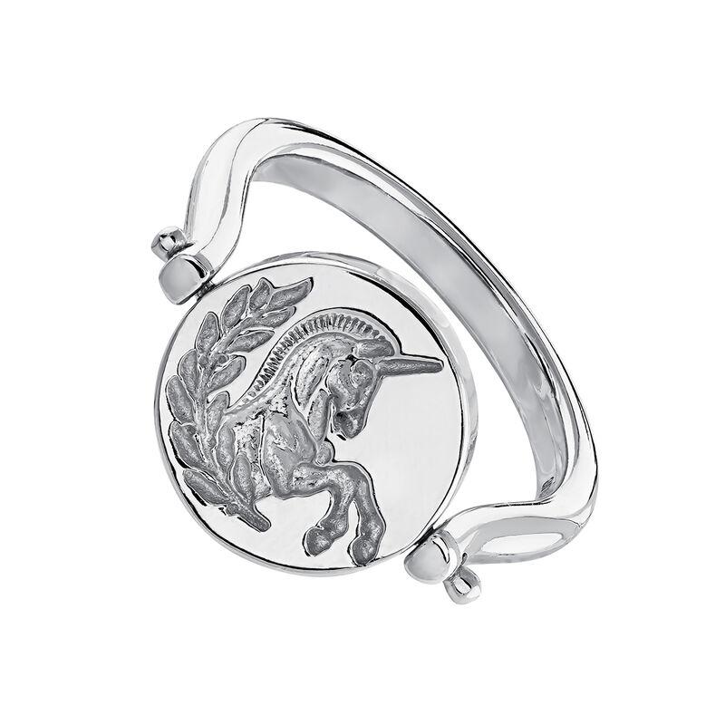 Anillo sello rotativo unicornio lira plata, J04190-01, hi-res