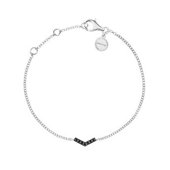Silver v-shape bracelet with spinels, J03297-01-BSN, hi-res
