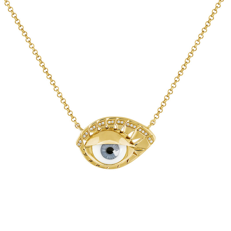 Gold plated silver blue eye white topaz necklace, J04401-02-BE-WT, hi-res