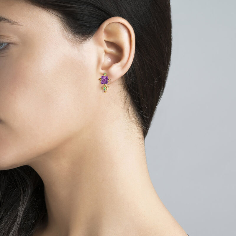 Gold plated silver amethyst geometric earrings, J04306-02-LAMMULTI, hi-res