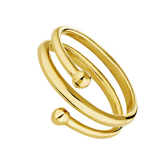Gold plated silver piercing balls spiral ring, J04325-02, hi-res