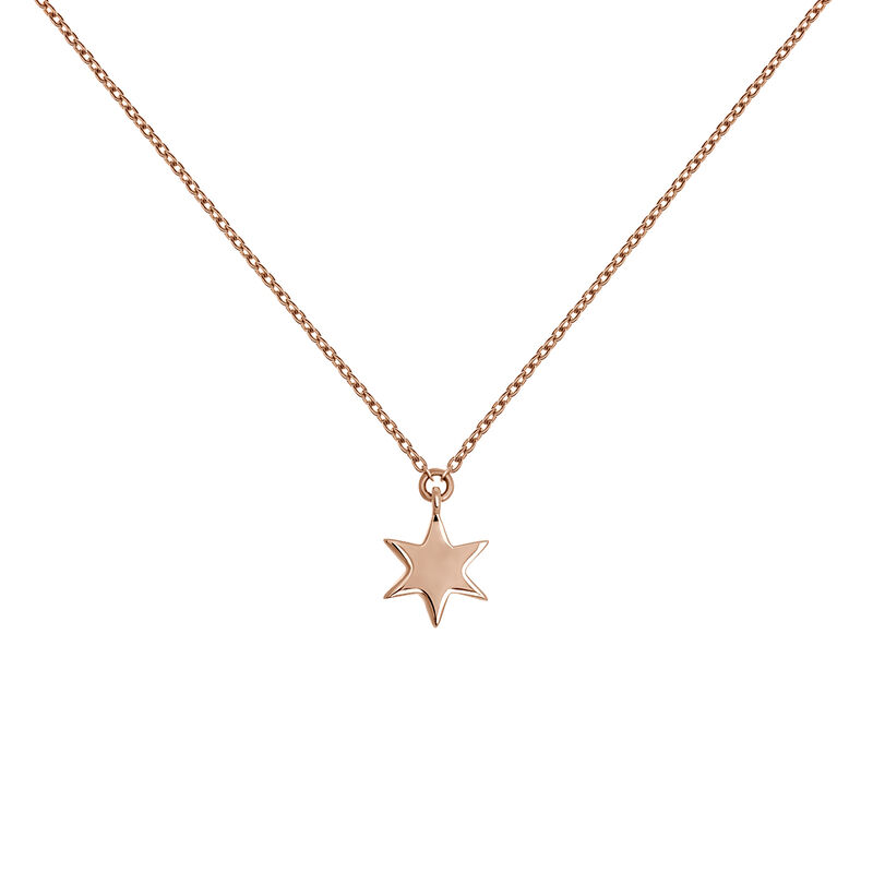 Rose gold star necklace, J03863-03, hi-res