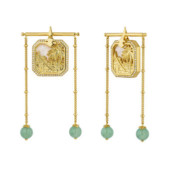 Gold plated pearl pendant earrings, J04279-02-WT-MOP-GAV, hi-res