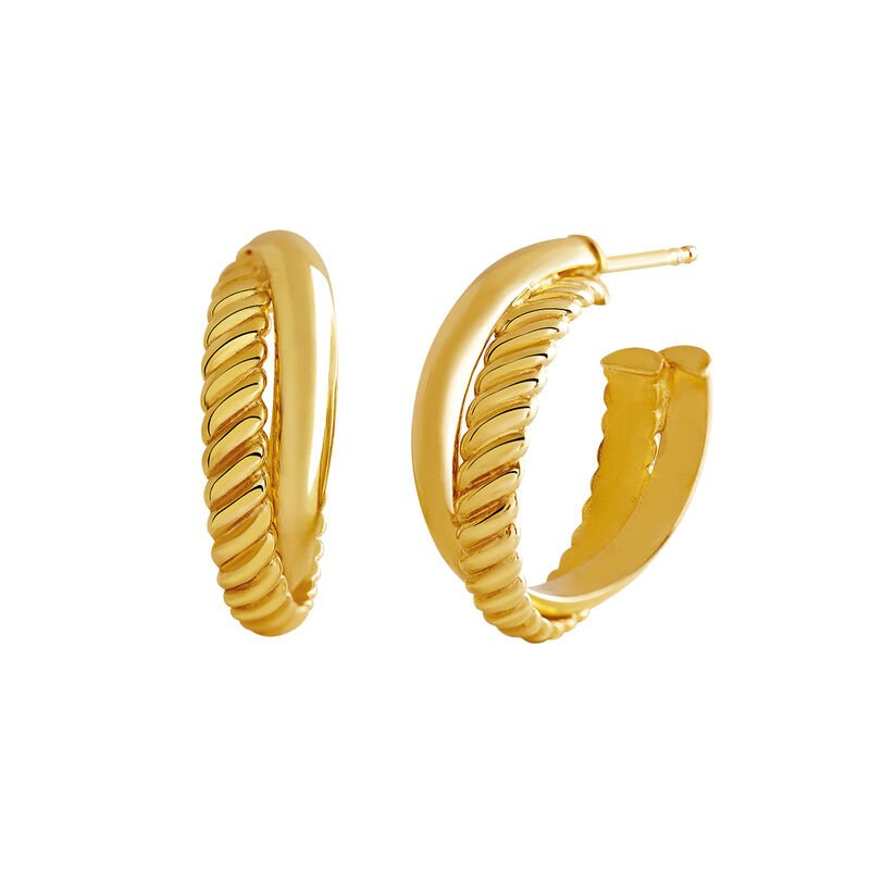 Gold smooth and cabled hoop earrings, J03095-02, hi-res