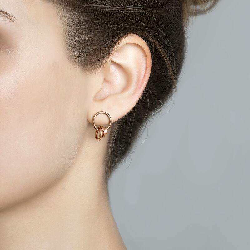 Rose gold multiple hoop earrings, J03472-03, hi-res