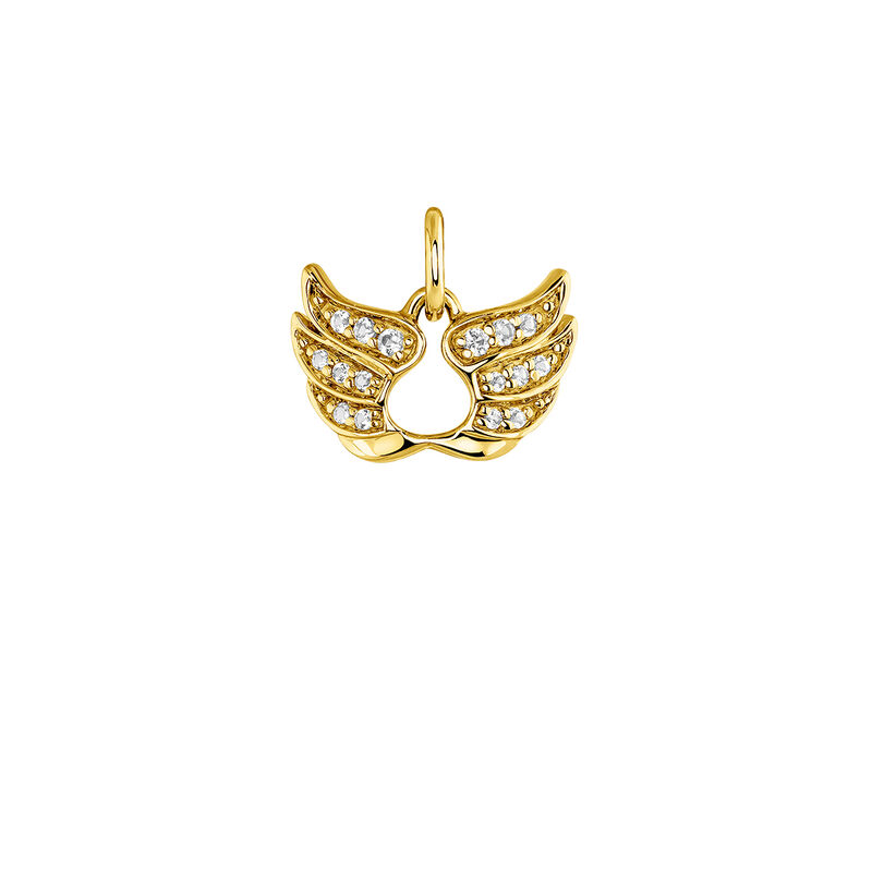 Gold lucky wings necklace, J03824-02-WT, hi-res